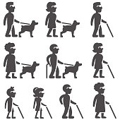Glyph icons of blind people in different ages and gender with