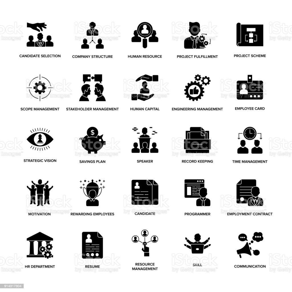 Glyph Icons Project Management vector art illustration