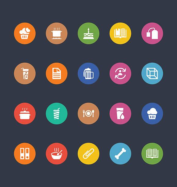 glyphen bunten vektor-icons 20 - hundeleckerli stock-grafiken, -clipart, -cartoons und -symbole