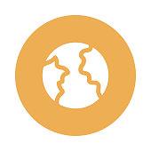 EARTH GLOBE glyphs flat circle icon