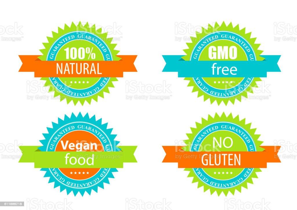 Gmo Free, 100 Natutal, Vegan Food and Gluten  Label Set vector art illustration