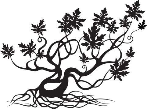 Vetores de Retorcidas Silhueta De Árvore e mais imagens de Antigo