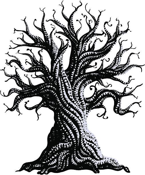 Unbewegliche alten Baum – Vektorgrafik