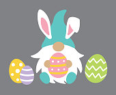 Vector illustration of cute gnome wearing Easter bunny ears holding Easter egg.