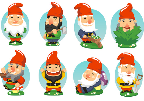 Gnome Garden Set, with standing gnome, gnome with axe, gnome with wheelbarrow, gnome picking grass, gnome smoking pipe, happy gnome, sleeping gnome, gnome with shovel vector illustration cartoon.