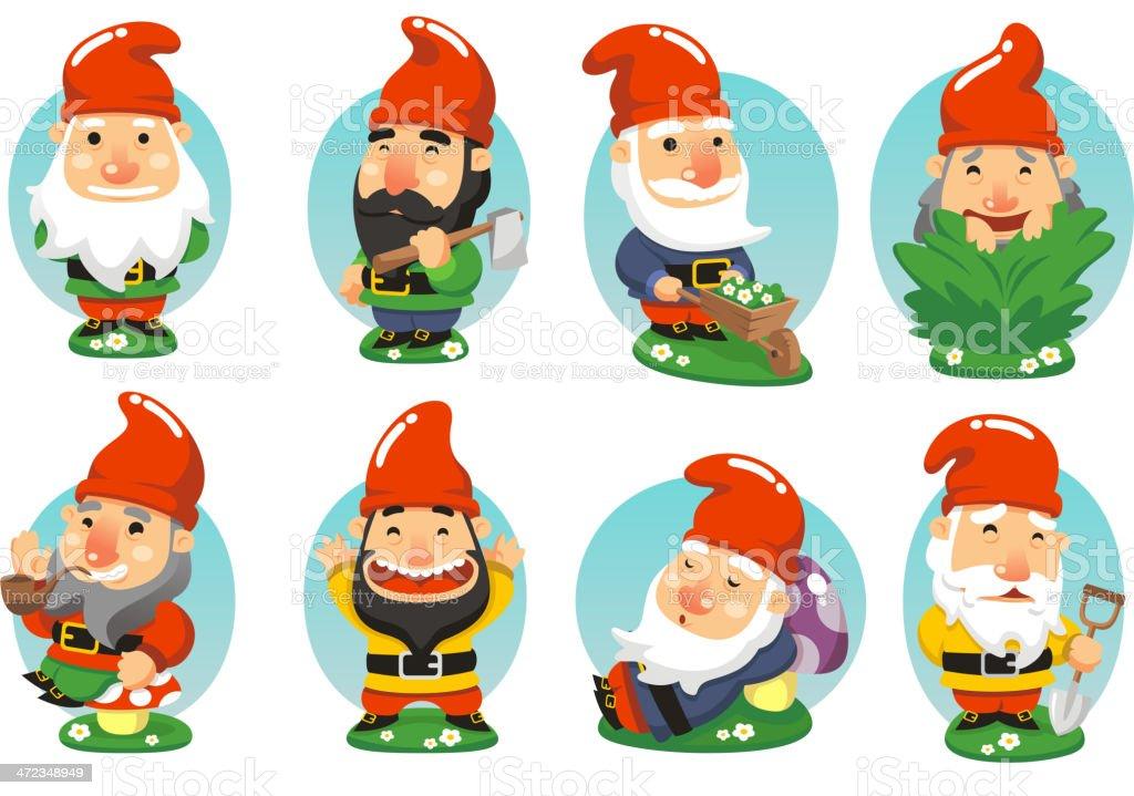 Gnome Garden Set vector art illustration