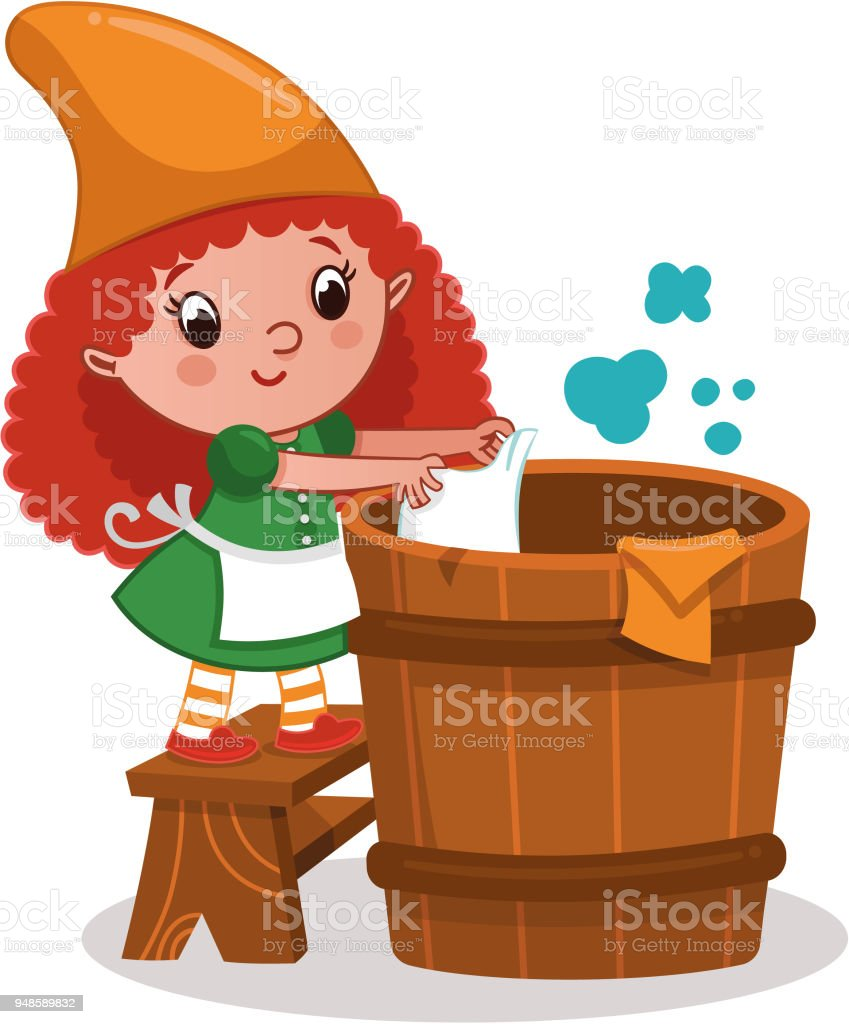 Gnome girl character doing laundry. vector art illustration
