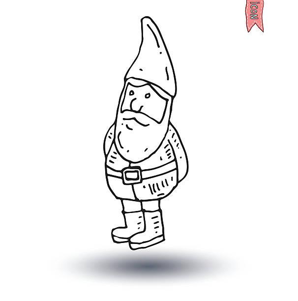 gnome hand drawn, vektor-illustration. - gartendekorationen stock-grafiken, -clipart, -cartoons und -symbole