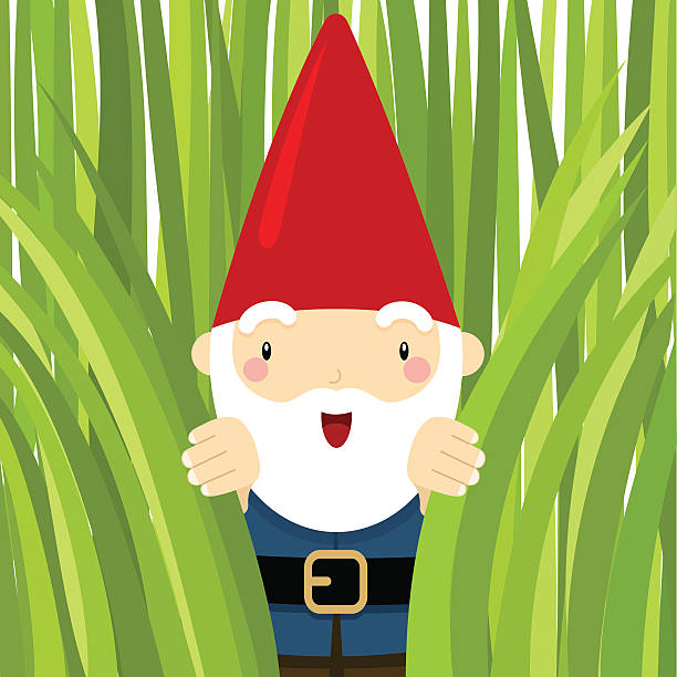 gnome in the garden. peeking grass - old man smiling backgrounds stock illustrations, clip art, cartoons, & icons