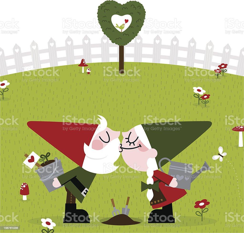 Gnome kiss cute garden gardener retro love couple spring royalty-free stock vector art