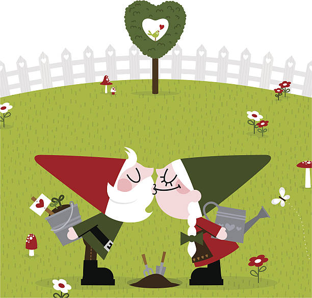 바탕화면에서 gnome 키스 귀여운 가든 gardener 복고풍 사랑입니다 커플입니다 연두빛 - kiss stock illustrations