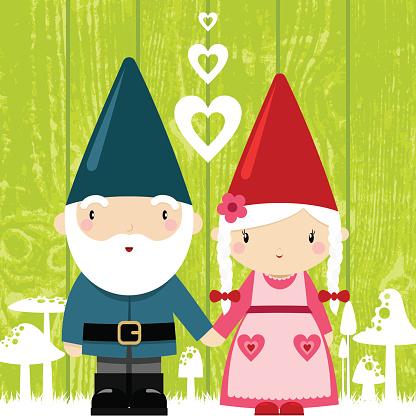 gnome love. couple, grandparents, st valentine´s day illustration,vector