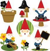 gnomes clipart hand drawn clipart  toadstoolprintables