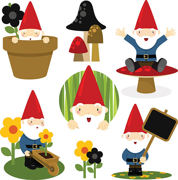 Christmas Gnome Clipart Black And White.Best Garden Gnome Illustrations Royalty Free Vector