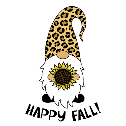 Gnome with a sunflower. Phrase Happy Fall. Thanksgiving Day. Vector illustration.