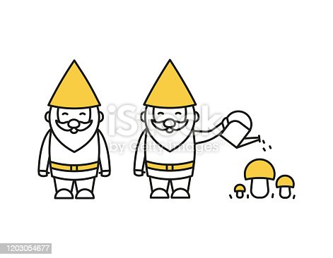 Gnome with a watering can water mushrooms vector illustration