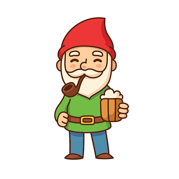 gnome with beer - old man smoking pipe drawing stock illustrations, clip art, cartoons, & icons