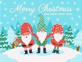 istock Gnomes christmas characters. Xmas greeting card with cute dwarfs, winter elements and lettering, december holidays vector background 1267789757
