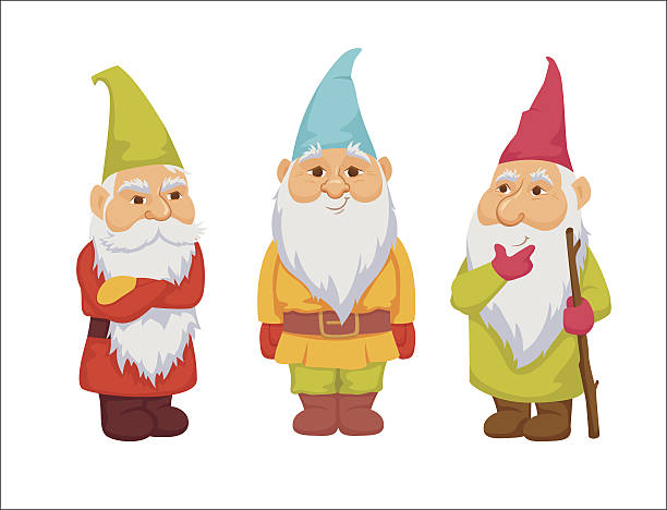 stockillustraties, clipart, cartoons en iconen met gnomes vector set - christmas border