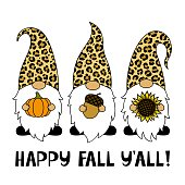 Gnomes with a sunflower, pumpkin, acorn. Phrase Happy Fall You All.