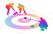 Curling in action, rainbow coloured silhouette vector illustration