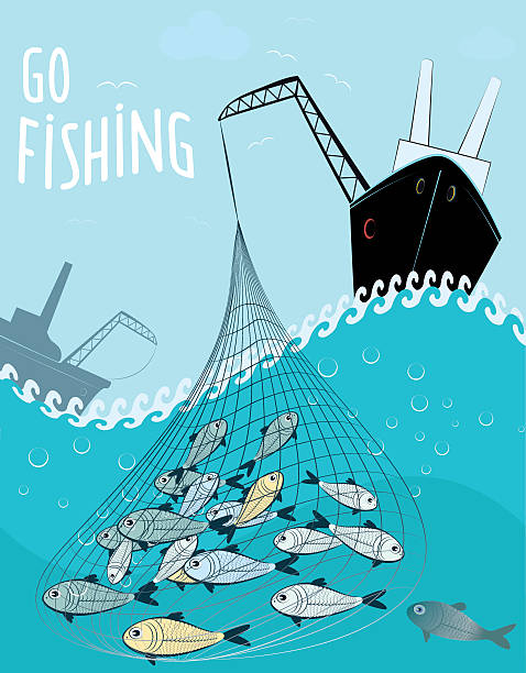go fishing vector art illustration