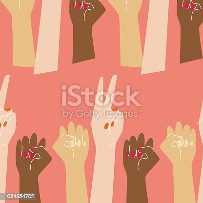Go girl pattern with raised women hands in coral background