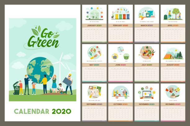bildbanksillustrationer, clip art samt tecknat material och ikoner med go green calendar 2020 med miljövänliga tips - christmas gift family