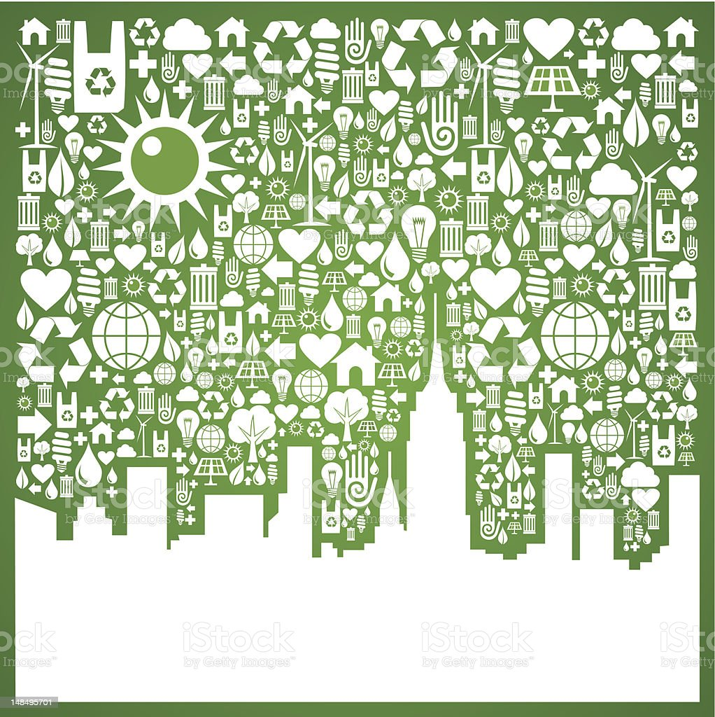 Go green city background royalty-free stock vector art