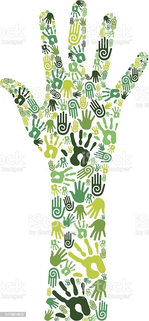 Go green collaborative hands vector art illustration