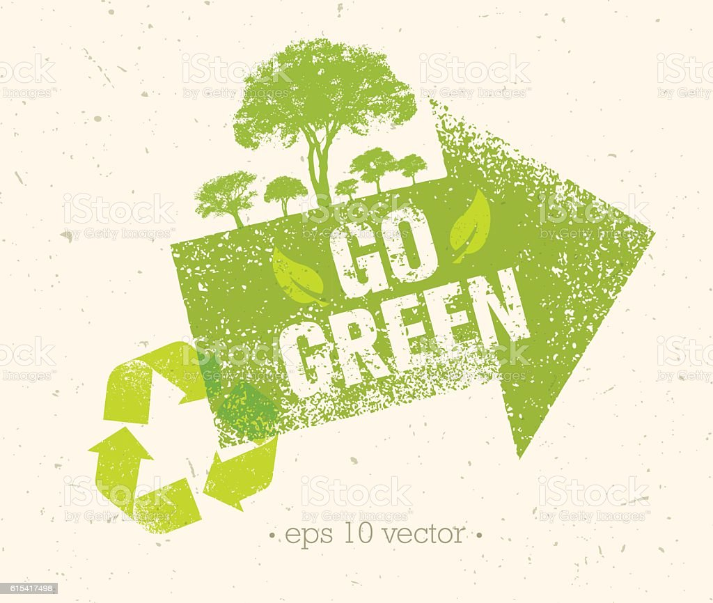Go Green Eco Vector Rough Design Element With Arrow Stock Illustration Download Image Now Istock