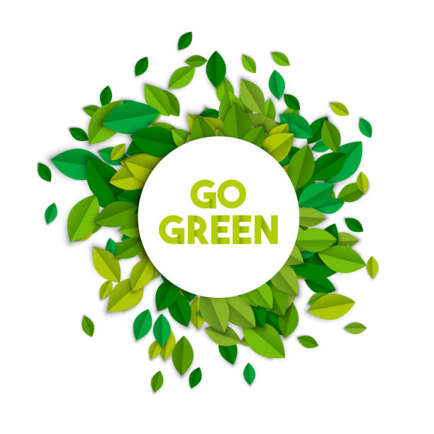 go green ecology sign concept with tree leaves - sustainability stock illustrations