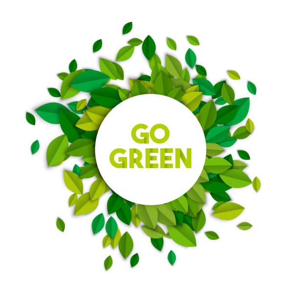 ilustrações de stock, clip art, desenhos animados e ícones de go green ecology sign concept with tree leaves - sustainability