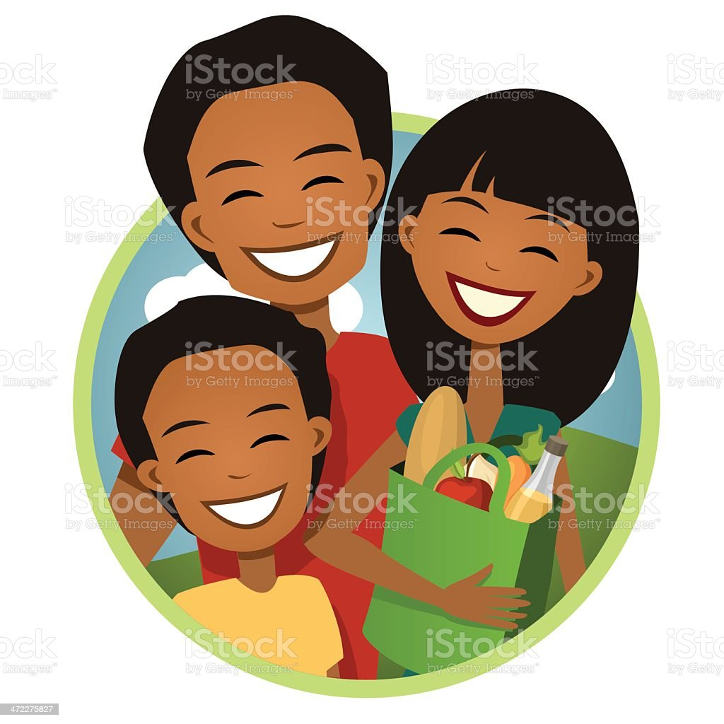 Go Green: Family Grocery Shopping with Reusable Bag vector art illustration
