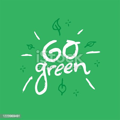 istock Go Green hand drawn lettering. 1223969491