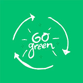 istock Go Green hand drawn lettering. 1223969745