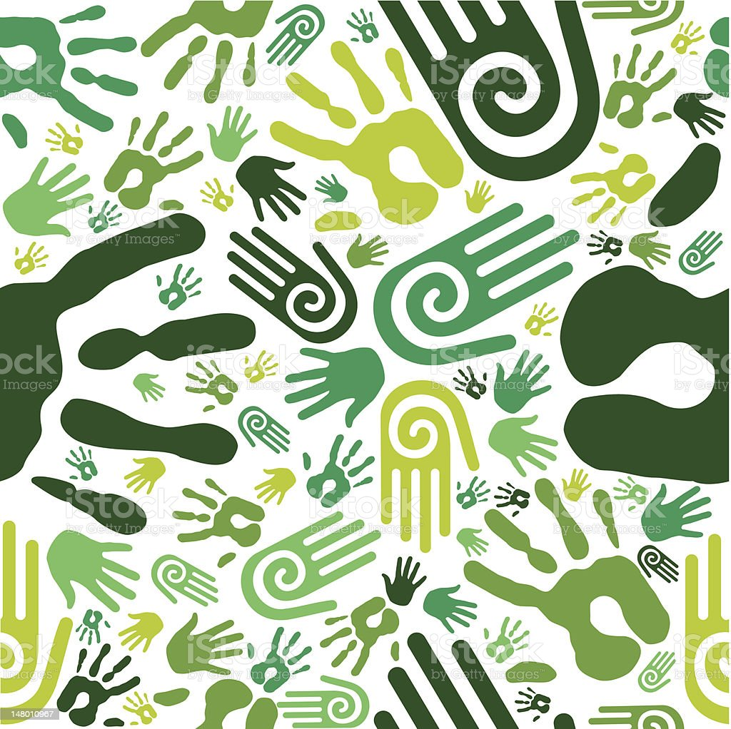 Go green hands seamless pattern royalty-free stock vector art