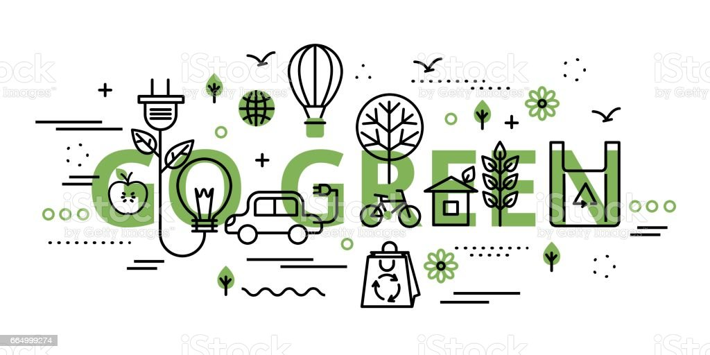 Go green infographic concept in greenery color vector art illustration