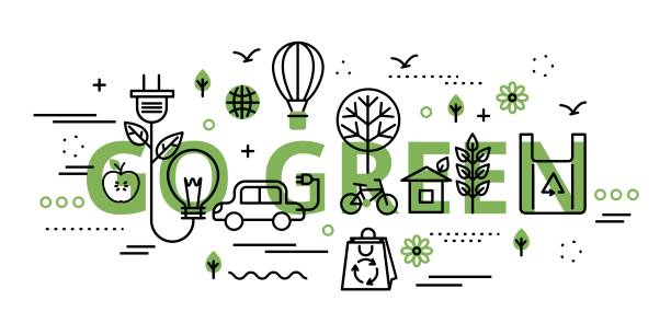 Go green infographic concept in greenery color Modern flat thin line design vector illustration, go green infographic concept in greenery color, for graphic and web design alternative fuel vehicle stock illustrations