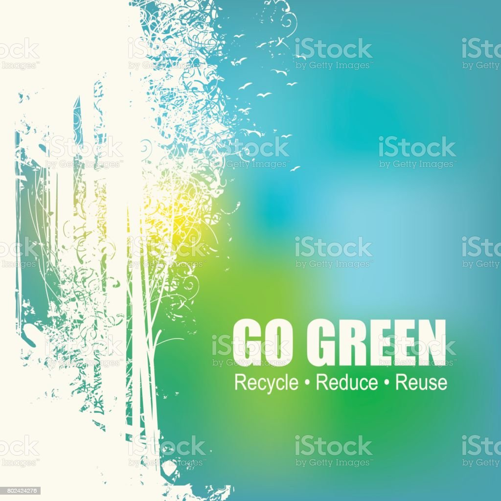 Go Green Recycle Reduce Reuse Eco Poster Concept vector art illustration