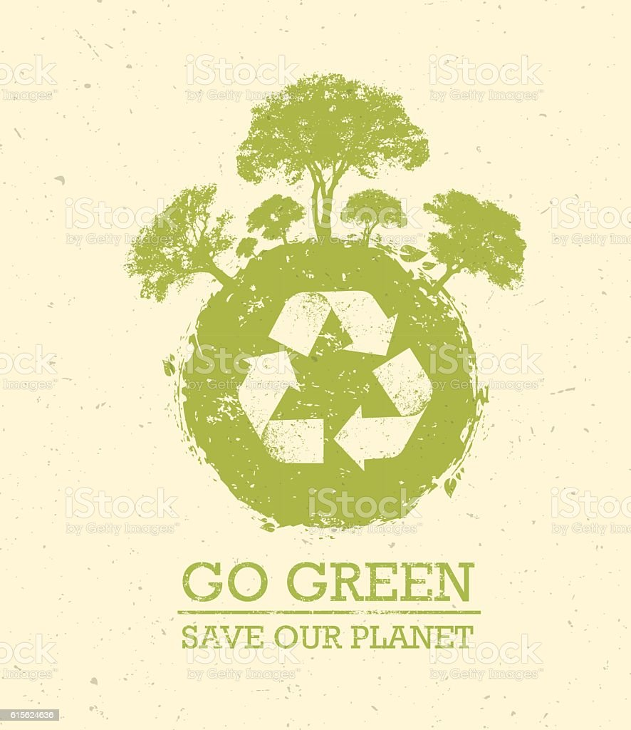 Go Green Save Our Planet Eco Vector Design Element vector art illustration