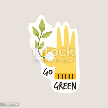 Go green slogan. Environmental concept. Hand showing ok and holding stem with leaves. Hand drawn vector illustration