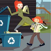 Illustration of a woman showing to her little girl the benefit of recycling and being part of the green planet revolution.