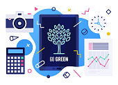 Vector illustration design template with smart device and go green text on its screen. Colorful web banner design with trendy decorations for corporate marketing or various vector illustrations.