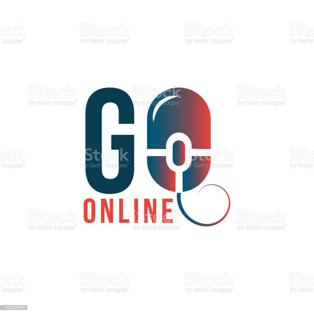 Go Online Shop Logo Vector Template Design Illustration Stock Vector