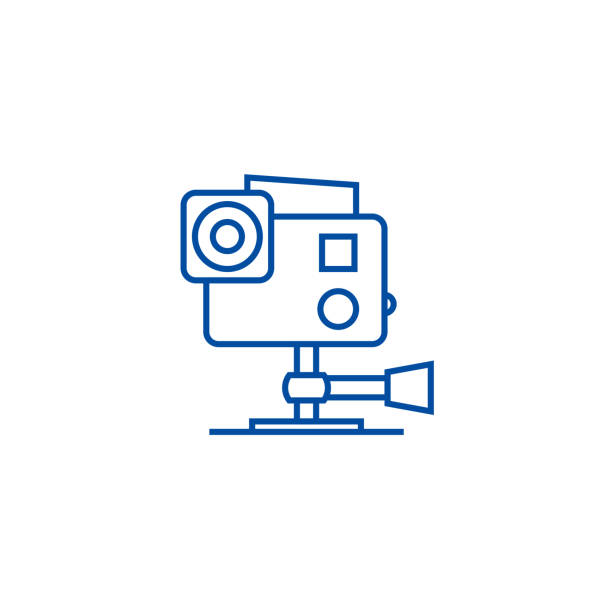 stockillustraties, clipart, cartoons en iconen met ga pro videocamera lijn icoon concept. go pro videocamera platte vector symbool, teken, outline illustratie. - gopro