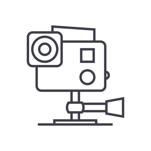 stockillustraties, clipart, cartoons en iconen met go pro videocamera vector lijn pictogram, teken, afbeelding op de achtergrond, bewerkbare lijnen - gopro