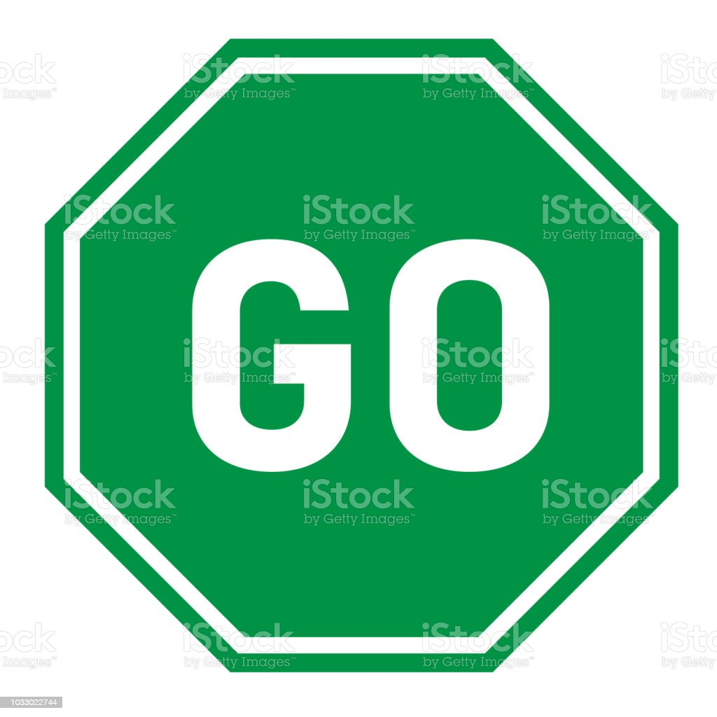 Go Sign On White Background Flat Style Green Go Sign For Your Web