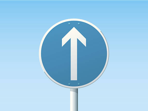 Go Straight German Road Sign Blue Vector Illustration of a german Road Sign in front of a clear blue sky: Go Straight. All objects are on separate layers. The colors in the .eps-file are ready for print (CMYK). Transparencies used. Included files: EPS (v10) and Hi-Res JPG. transportation stock illustrations