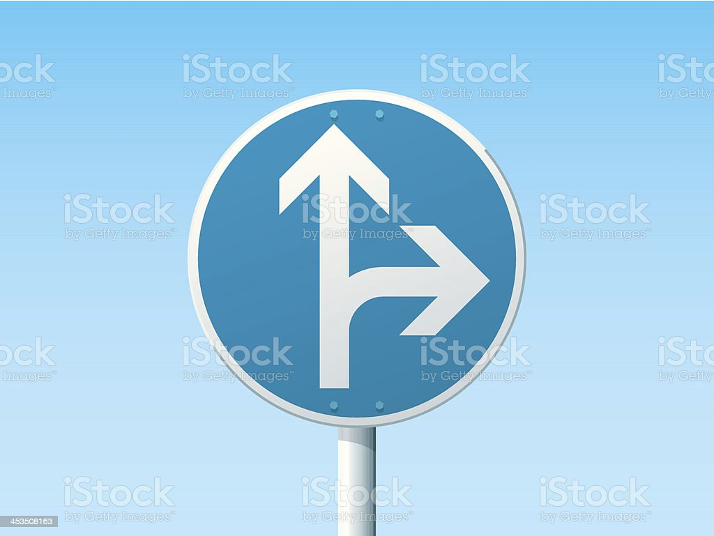 Go Straight Or Right German Road Sign Blue vector art illustration